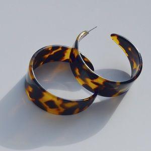 Large Dark Brown Tortoise Hoop Earrings